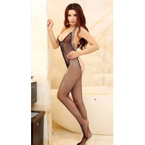 Bodystocking Negro Red-animal Print Leopardo, Escote Glúteos