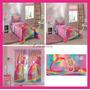 Kit Barbie : Jogo De Cama+ Colcha+ Cortina 2 Partes+ Toalha