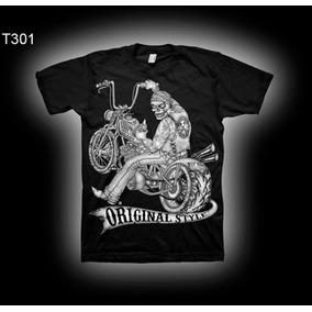 Camiseta Moto Harley Skull Bobber Old School Ad Brand
