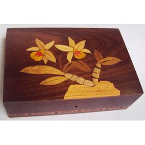 Caixa Madeira Marchetaria Orquídea Flores E Det Geométricos