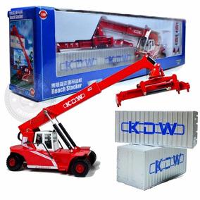 Miniatura Empilhadeira Container Em Metal Vermelha 1/50 Kdw