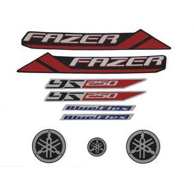 Kit Adesivos Yamaha Fazer 250bf 2013 Preta /blue Flex\