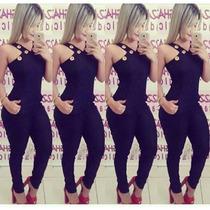 Macacão Longo De Ilhos Com Bolso +blazer Colorido Feminino