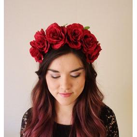 Tiara Diadema Corona De Rosas Rojas Tocado Frida Mujer