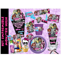 Kit Imprimible Monster High Etiquetas Fiesta Invitaciones