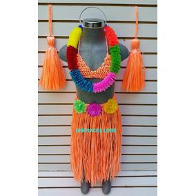 Disfraz Hawaiana Color Naranja Disfraces Niñas Vestidos M2