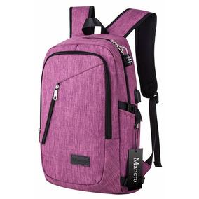 Backpack Laptop 17in Con Cargador Usb Portable Mancro Morada