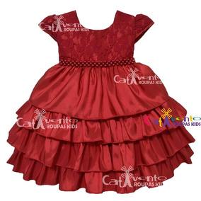 Vestido De Festa Infantil Vermelho Com Renda Promoção