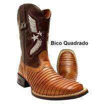 Bota Texana / Country Casco De Tatu - Cano Alto 100% Couro