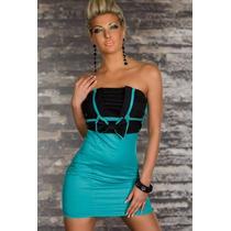 Sexy Vestido Strapless Turqueza Negro Con Moño Casaul 2909