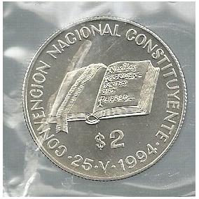Juego De 2 Y 5 Pesos Constituyente Plata 1994