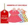 Kyly - Kit C/ 3 Vestidos Infantis Tam P - Frete Único - R$10