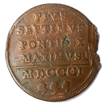 Ch C / E. Italianos - Estados Papales 1 Baiocco 1801 Km#1263