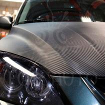 Adesivo Fibra Carbono Preto Fosco Moldável Tuning / 3m X 1m