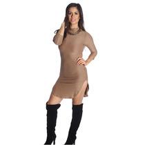 Lefash - Lados Acanalada Vestido De Cuello De Tortuga S M L