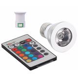 Lampada Rgb Spot Led 3w 16 Cores Bivolt C/ Controle E Bocal