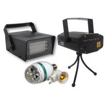 Kit Balada Laser Projetor Bola Maluca Strobo Flash 24 Leds