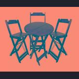 Jogo De Mesa Bar Bistrô Dobrável Com 3 Cadeiras Altas