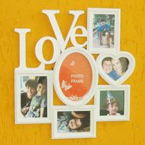 Quadro Painel 6 Fotos Porta Retratos Love Amor Coração