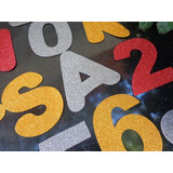 20 Letras Ou Numeros Painel Decoraçao Letreiro Eva C/ Gliter