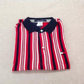 Camisa Polo Tommy Hilfiger Infantil/juvenil Listras Vermelha