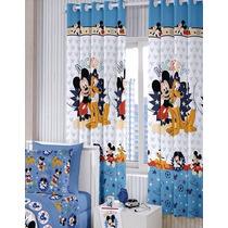 01 Par De Cortina Infantil Disney Mickey Mouse 2x1,80