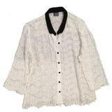Camisa Branca De Renda Com Gola Preta E Mangas 3/4 Tam G