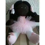 Boneca De Pano Negra Artesanal Bailarina Decoração Linda