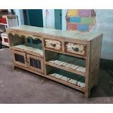 Mueble Tv - Lcd - Patinado - Rustico De Campo