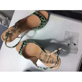 Zapatos Prada - Zapatillas Peep Toe Verde Turquesa Talla 36