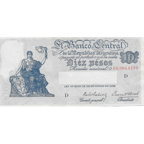 Billete 10 Pesos Progreso Bottero 1882 O 1883 Sin Circular-