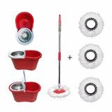 Balde Spin Mop Centrifuga Inox Esfregão 2 Refis Vassoura