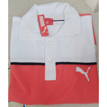 Camisa Playera Tipo Polo Puma Color Blanco Con Salmon Hombre