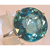 Rsp J4983 Anel Cálice Prata 950 Água Marinha Azul Natural