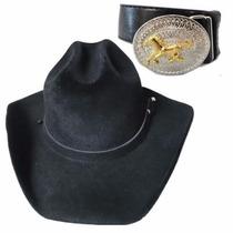 Chapéu + Cinto Couro Infantil Cowboy Festa Imbativel