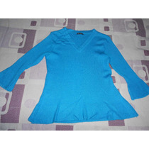 Sweater De Hilo/ Remera Manga 3/4 Color Turquesa Sans Doute
