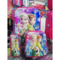 Maleta 6 Ruedas Kit Cartuchera-lonchera-maleta Frozen Oferta