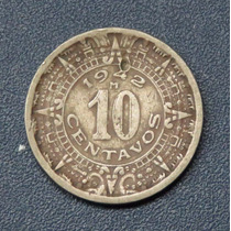 Ganga Moneda De 10 Centavos Calendario Azteca Año 1942