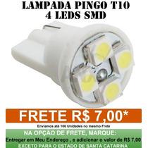 Lampada Pingo T10 4 Leds Smd Branca Automotiva Promocao