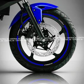 Friso Yamaha Fazer 150 Azul Refletivo Adesivo Filete Roda