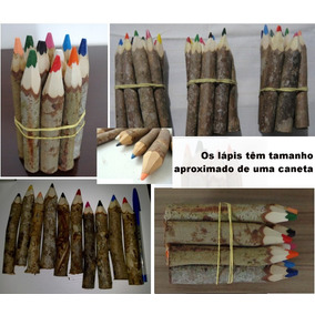 Lápis De Cor Tronco De Árvore Artesanal Kit Com 10