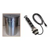 Lixeira De Embutir Inox - 5 Litros + Torre Tomada Multiplug