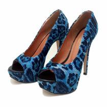 Peep Toe Onça Azul - Nº 35 - Cód: 0000076