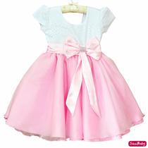 Vestido Gatinha Marie Minnie Rosa Realeza 1 Ao 3 Com Faixa