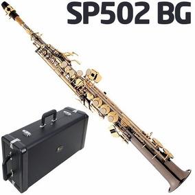 Saxofone Soprano Sib Reto + Case Sp502 Bg Preto Onix Eagle