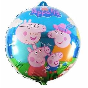 Balão Metalizado Pepa Pig Familia 45x45cm - Kit C/ 10