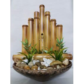 Fonte Agua Artesanal Feng Shui Bambu Cerca Reta 1 Queda