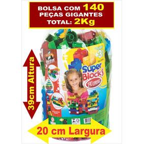 Super Blocos De Montar 01 Bolsa Com 140 Peças Grandes