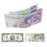 Billetera Diseño Forma De Billetes Euro, Dolar, Pesos