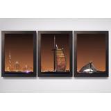 3 Quadros Com Moldura Decoracao Escritório Sala Dubai Noite